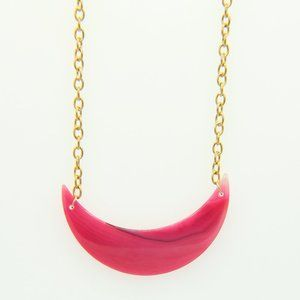 Pink Moon Agate Pendant Gold Plated Chain Necklace